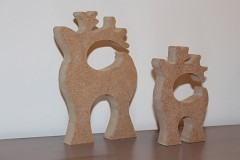 Set of 2 Wooden MDF Reindeer Shapes, 18mm thick