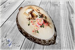 Large Hand Decorated Easter Egg with Metal Stand