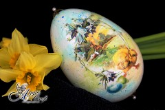 Hand Decorated Easter Egg with Chicks and flowers, 12cm