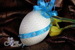 Hand Decorated Easter Egg with Cream Satin Ribbon, 12cm