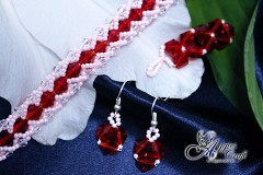 Bracelet, Earrings and Pendant, Pink and Red