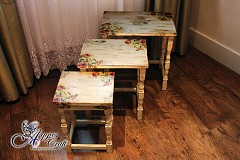 Refurbished Nest of 3 Wooden Tables