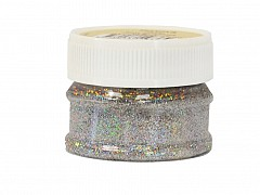 Glitter Powder, BRIGHT SILVER, 25ml bottle