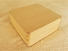 Square Wooden Box with Round Corners - 15.8 x 15.8 x 6.7cm