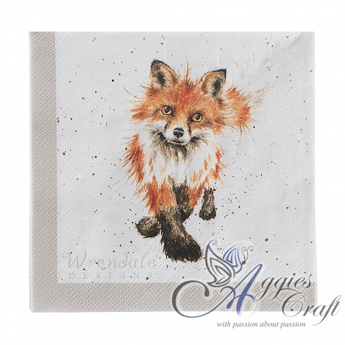 Wrendale Lunch Napkins, 33 x 33cm, FOX