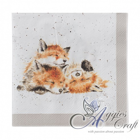 Wrendale Lunch Napkins, 33 x 33cm, Pack of 20, FOX
