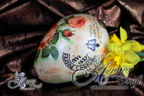 Hand Decorated Vintage Easter Egg, 15cm